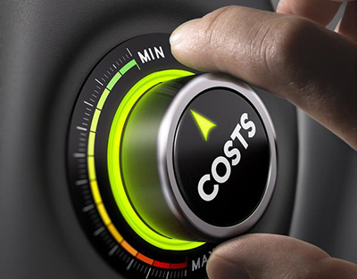 Man fingers setting cost button on minimum position. Concept image for illustration of cost management.